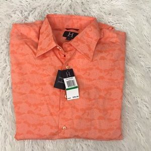 Tommy Hilfiger orange printed button down shirt